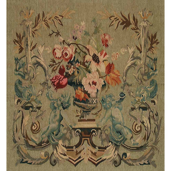 "36"" X 36"" Hand woven aubusson tapestry with backing and rod pocket.  100% wool weave."