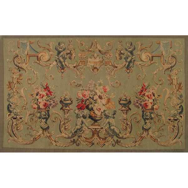"48"" x 72"" Hand woven aubusson tapestry with backing and rod pocket."