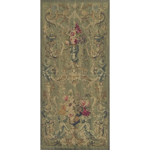 "35"" x 75"" Hand woven aubusson tapestry with backing and rod pocket."