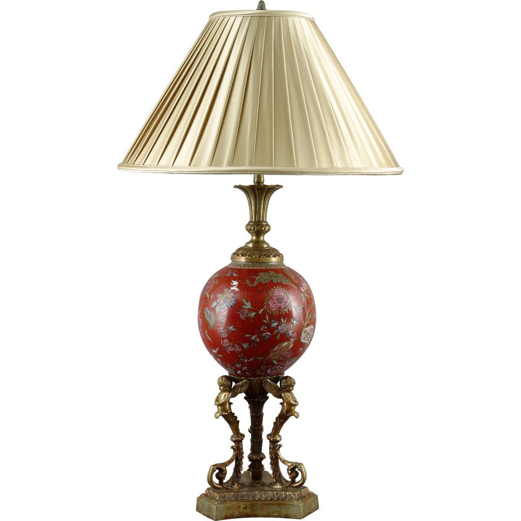 Lovecup Red Cherub Porcelain Table Lamp L117