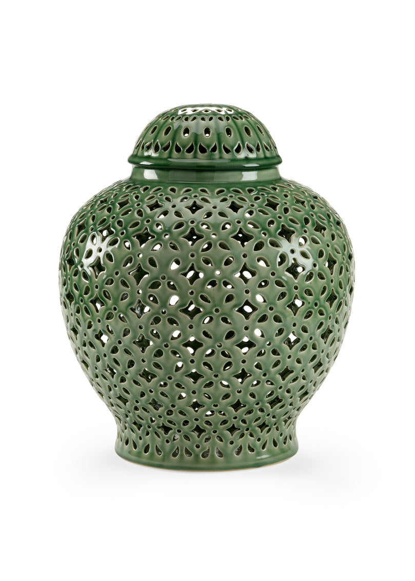 Chelsea House Pierced Covered Jar - Green 382538