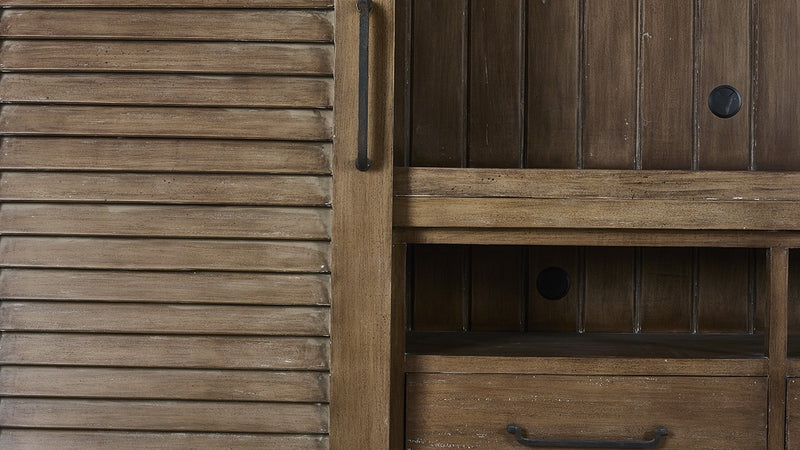 Lovecup Weathered Brown Media Cabinet with Shutter Doors