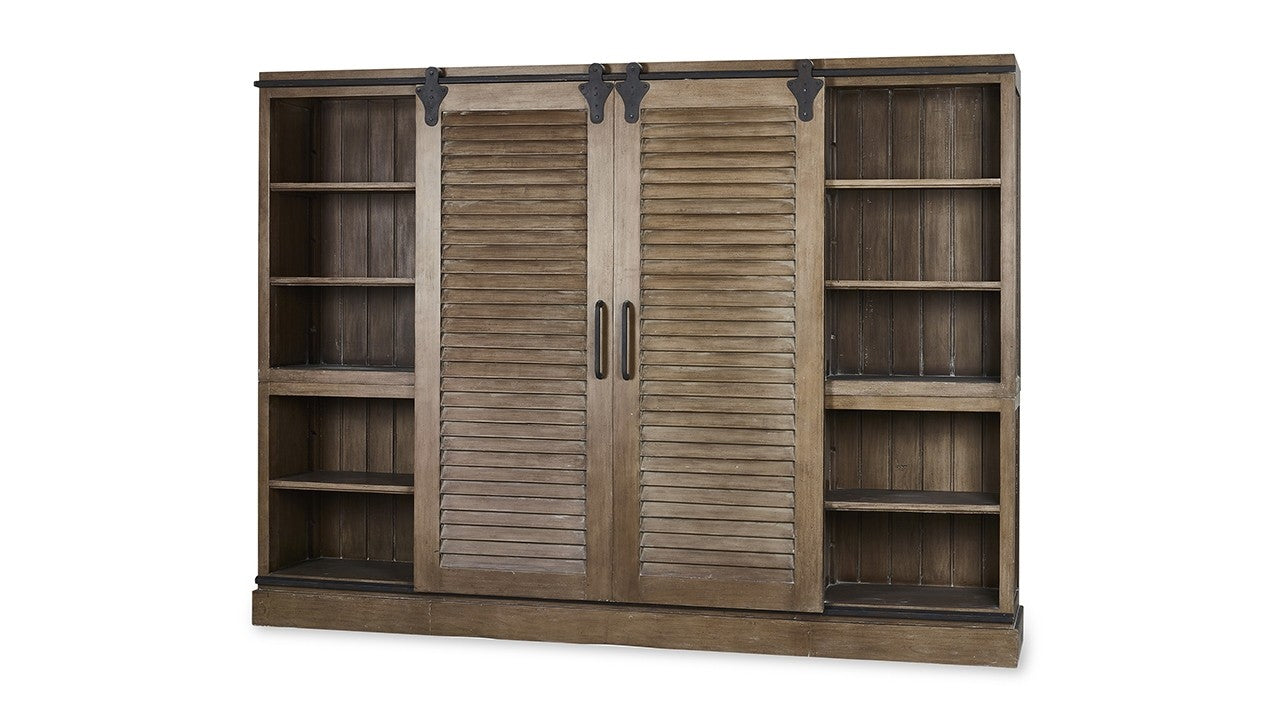 Lovecup Weathered Brown Media Cabinet With Shutter Doors Lovecup