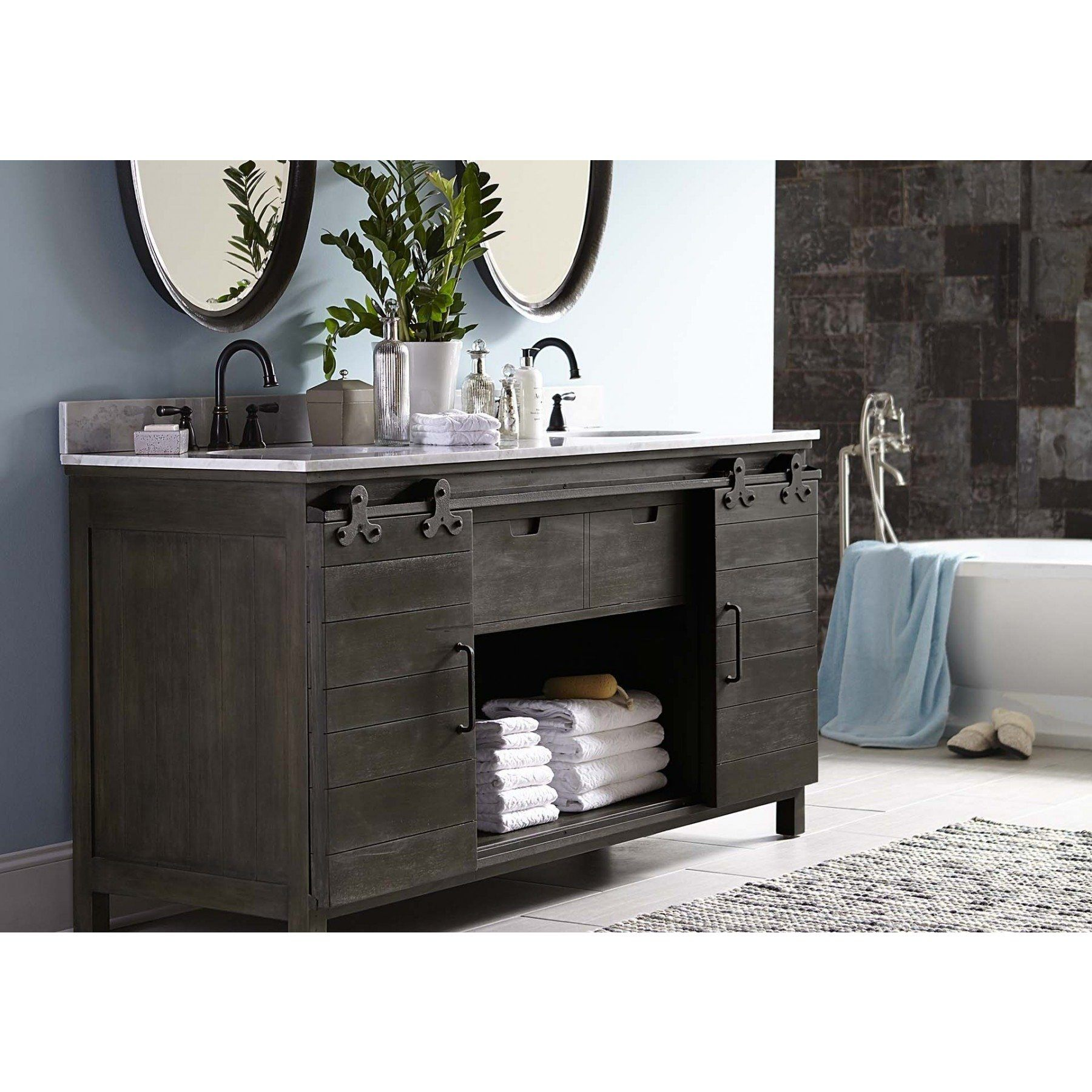 Lovecup Farmdoor Double Bathroom Vanity 40.9H x  72W x  24D in - LOVECUP