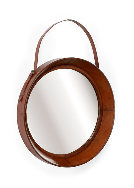 Lovecup Cognac Leather Mirror, Small L801