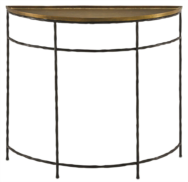 Currey and Company Boyles Demilune Console Table, Brass 4000-0053