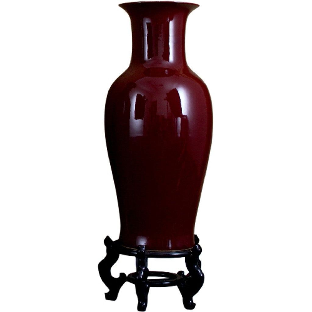 "Lovecup Oxblood Red Porcelain Vase on Stand 32.25"" Height L024"