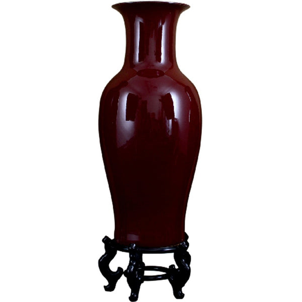 "Lovecup Oxblood Red Porcelain Vase with Stand 36"" Height L025"