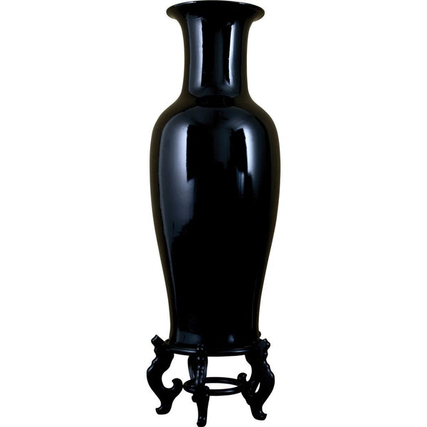 Lovecup Black Porcelain Vase with Stand L059
