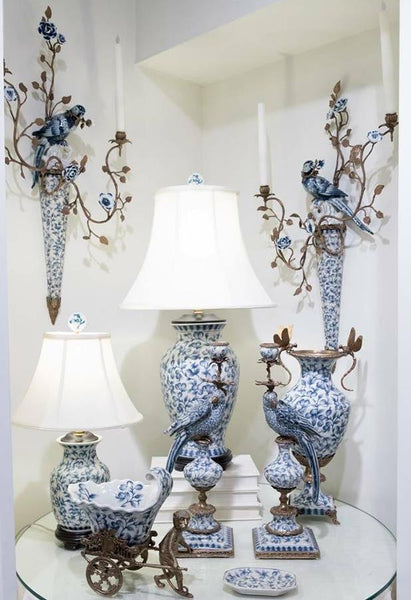 Lovecup Blue and White Birds Wall Candle Stick - Pair L074