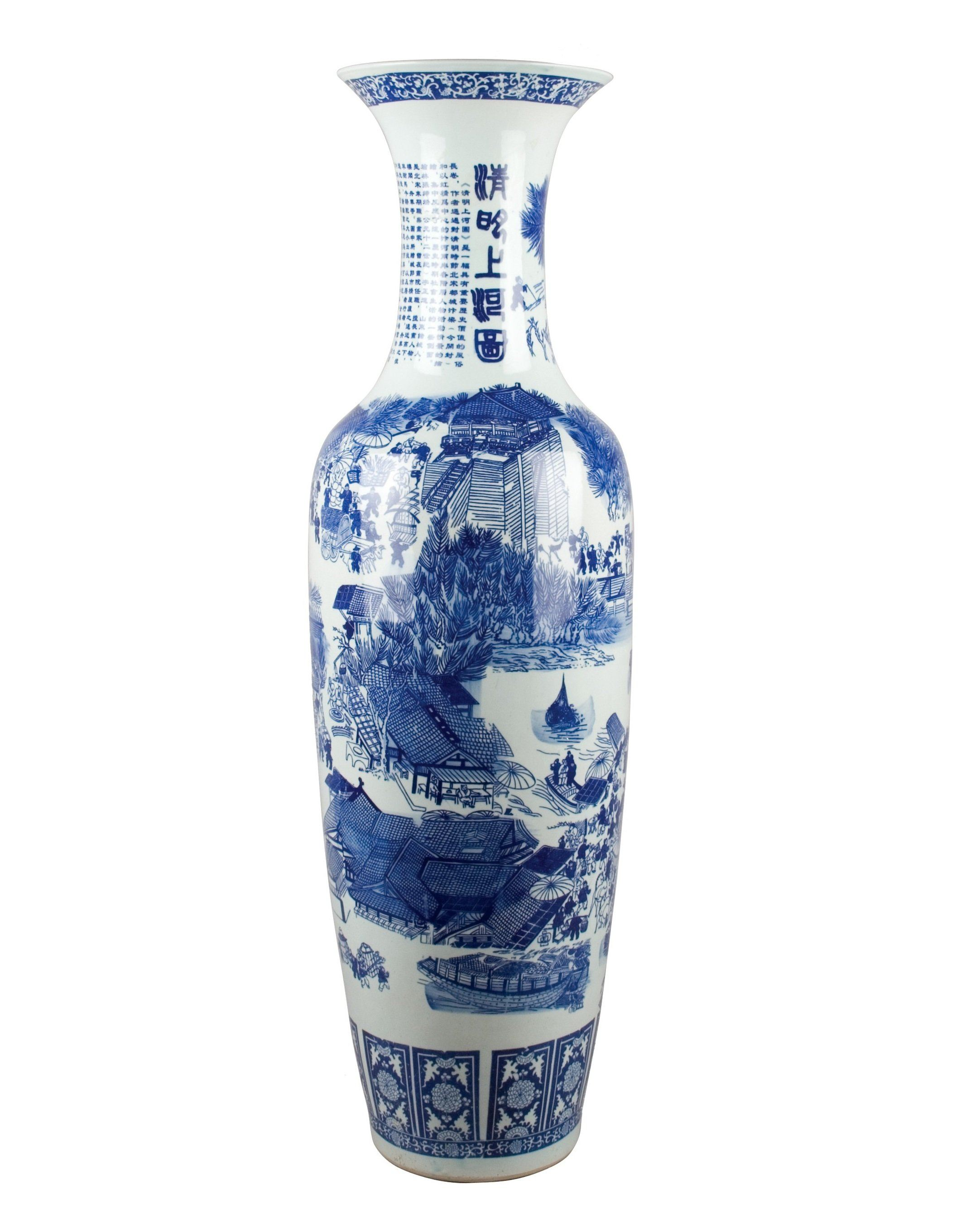 "Lovecup Blue & White 48""Tall Porcelain Vase - LOVECUP"