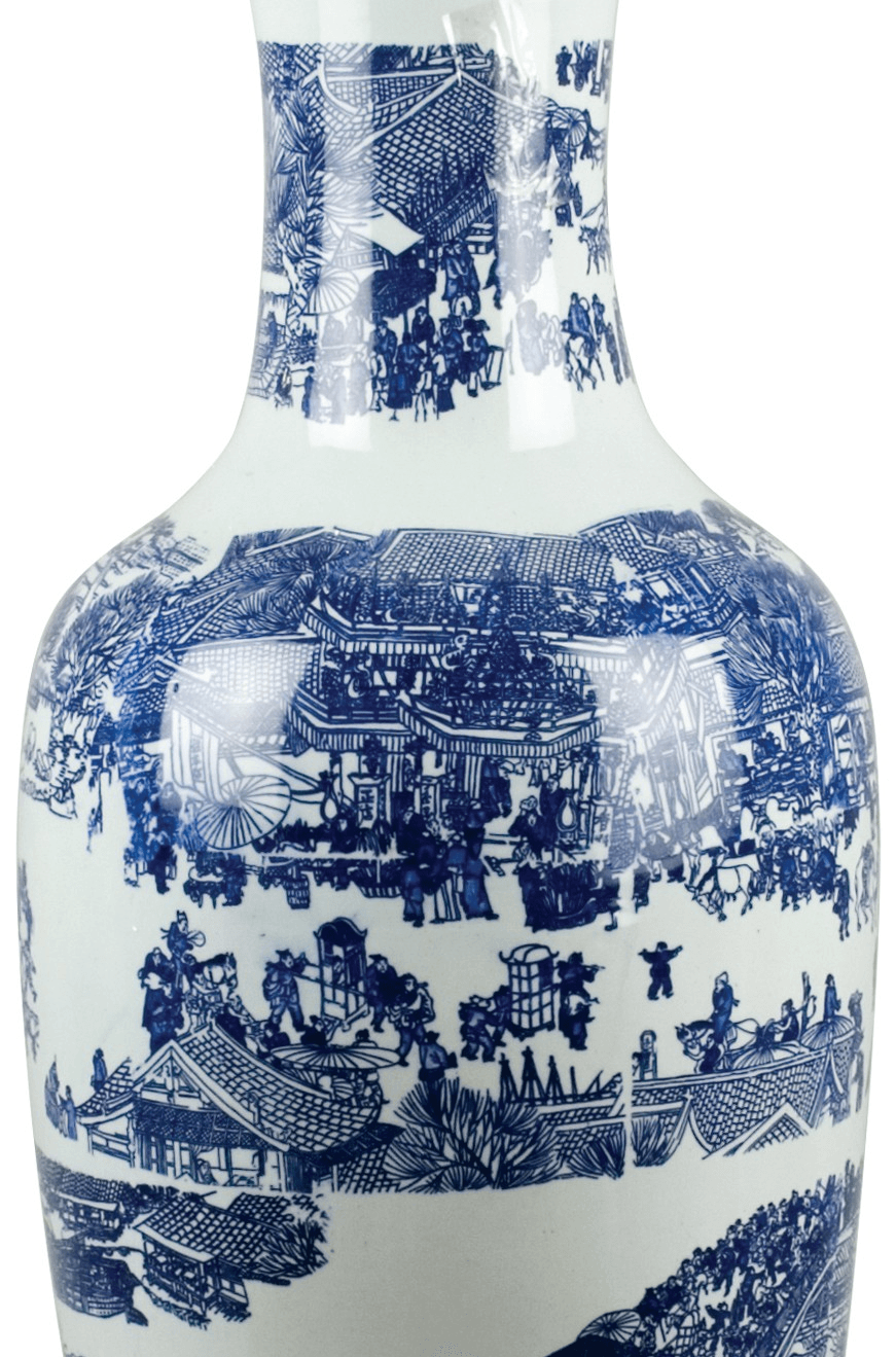 Lovecup Blue & White 38''Tall Porcelain Vase - LOVECUP