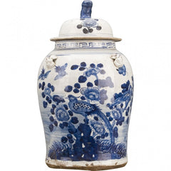 Lovecup CLASSIC PORCELAIN JAR-BLUE AND WHITE BIRD SCENE L519