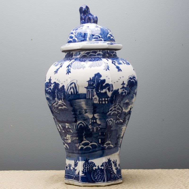 Lovecup BLUE AND WHITE HEXAGONAL TEMPLE JAR L562