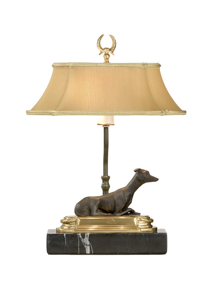 Chelsea House Greyhound Bookcase Table Lamp with Black Marble Base Right 68067
