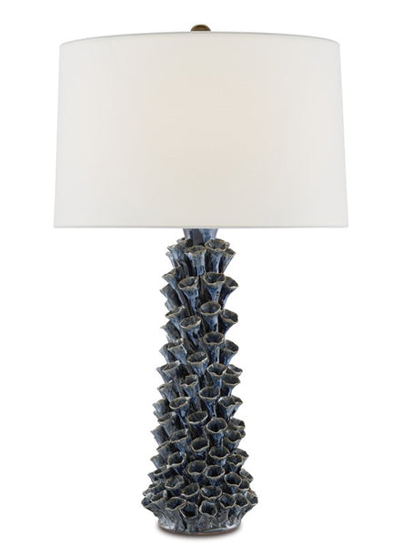 Currey and Company Sunken Blue Table Lamp 6000-0683