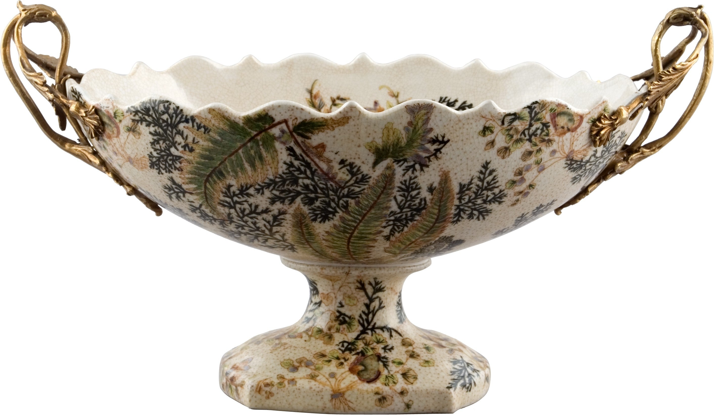 Lovecup Centerpiece Table Top Bowl with Bronze Handles and Moss Fern Design L209