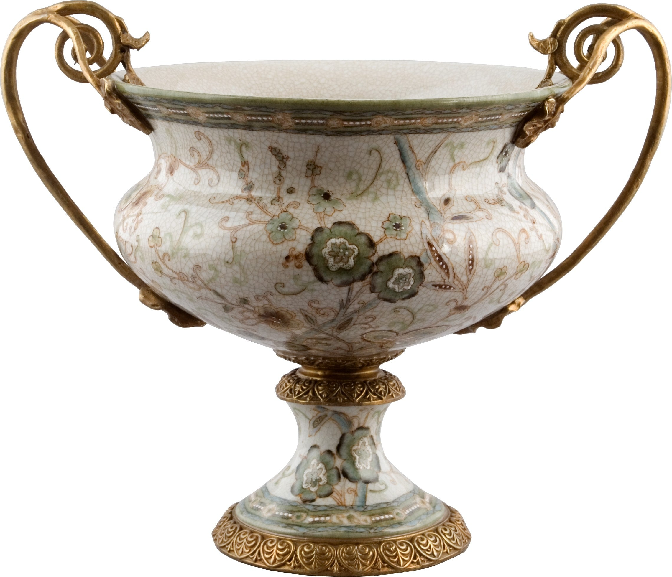 Lovecup Centerpiece Table Top Bowl with Bronze Handles and Garden Design L214