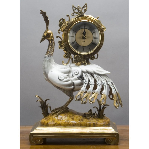 Lovecup Porcelain Peacock Clock with Bronze Ormolu Accents L314