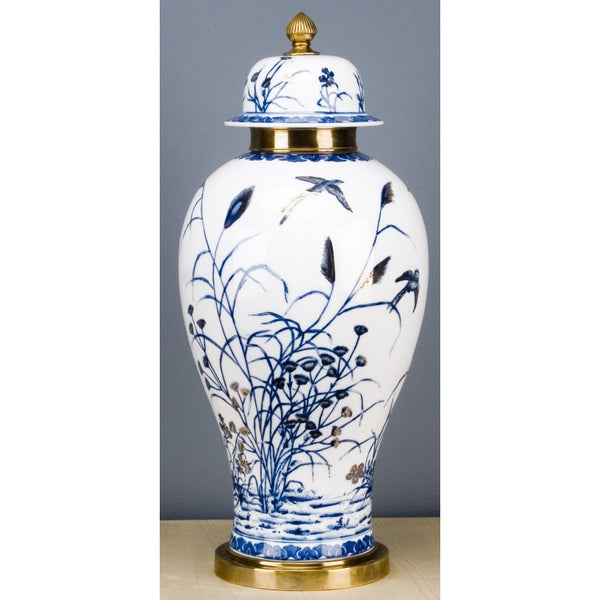 Lovecup ROUND JAR WITH BRONZE- BLUE AND WHITE WITH REAL GOLD GLAZE L320