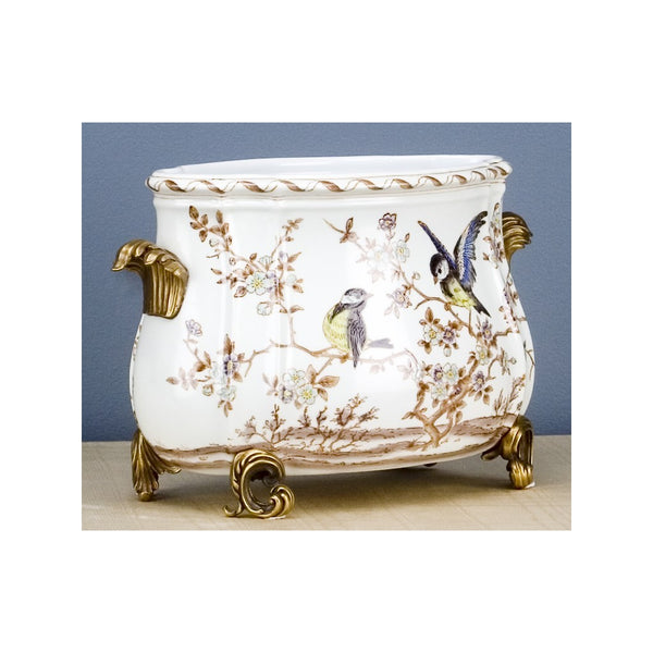 Lovecup PORCELAIN ORMOLU PLANTER WITH BRONZE ACCENT L324