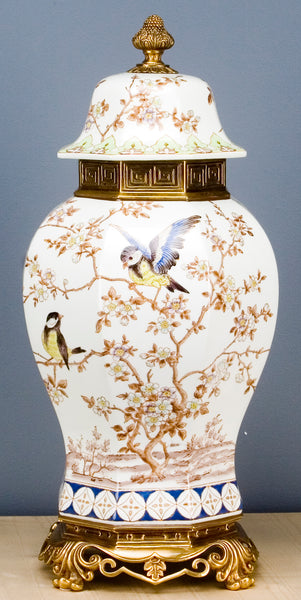 Lovecup Birds Porcelain Vase With Bronze Omolu L325