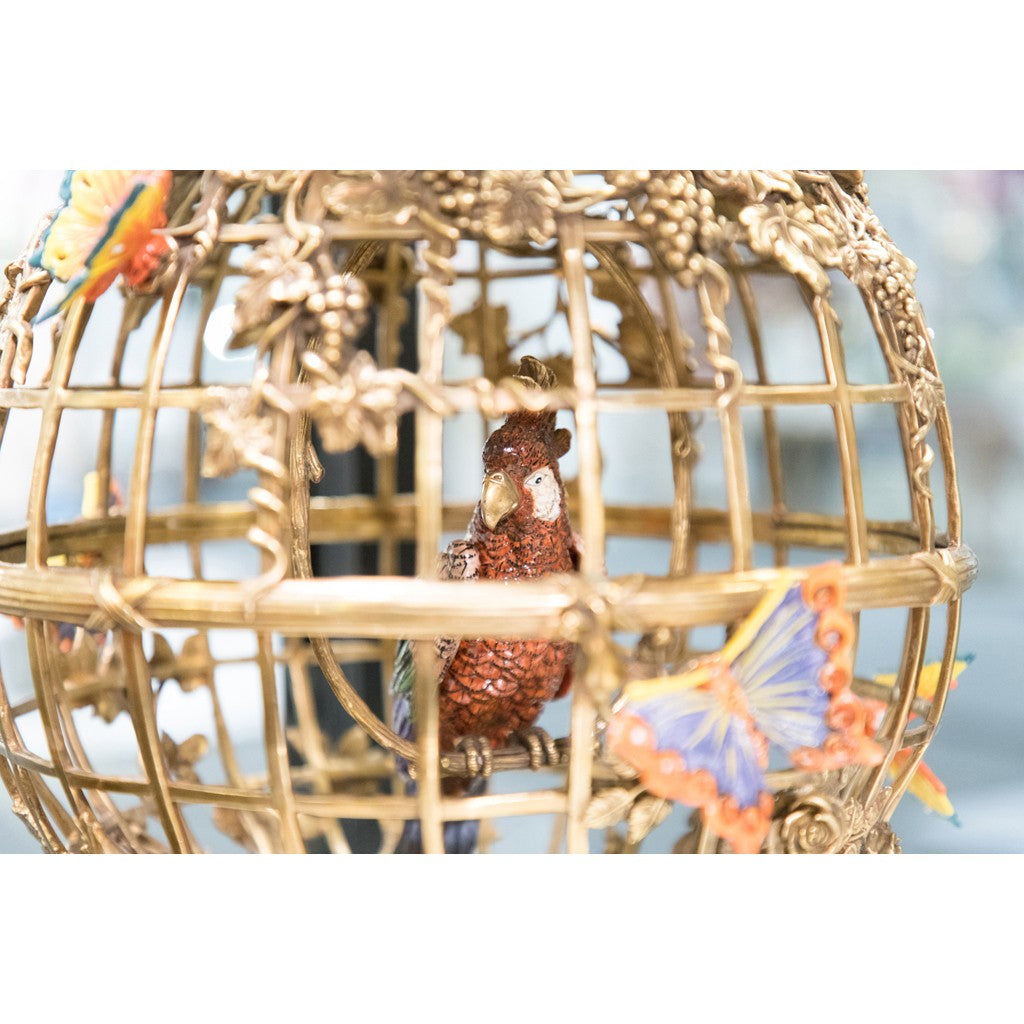 Lovecup Bronze Bird Cage Vase with Parrot L338