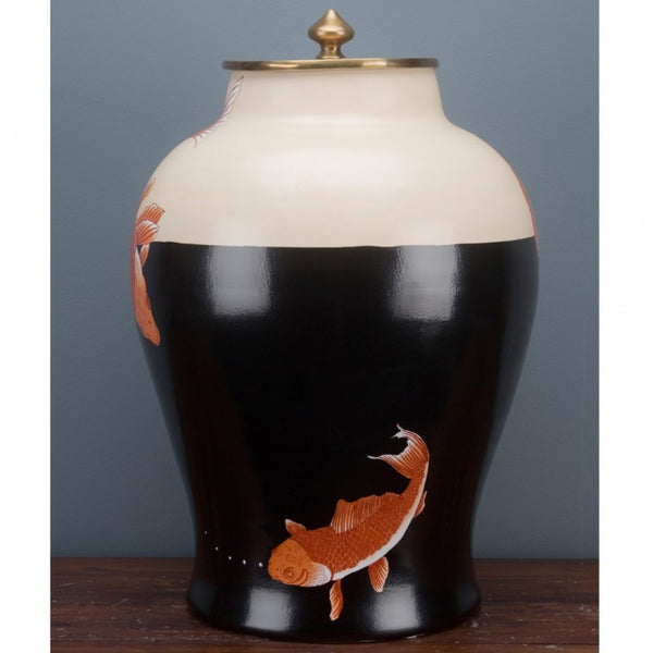 Lovecup Porcelain Jar with Koi and Bronze Ormolu Lid L340