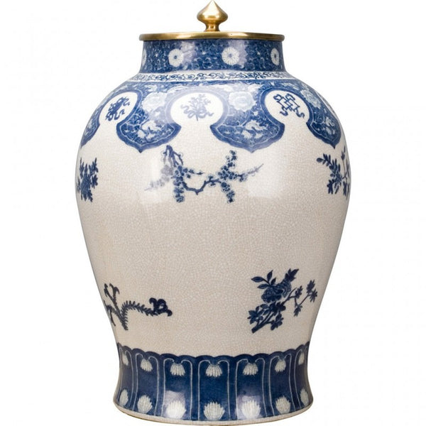 Lovecup Big Porcelain Jar with Bronze Ormolu Lid and Blue and White Flowers L345