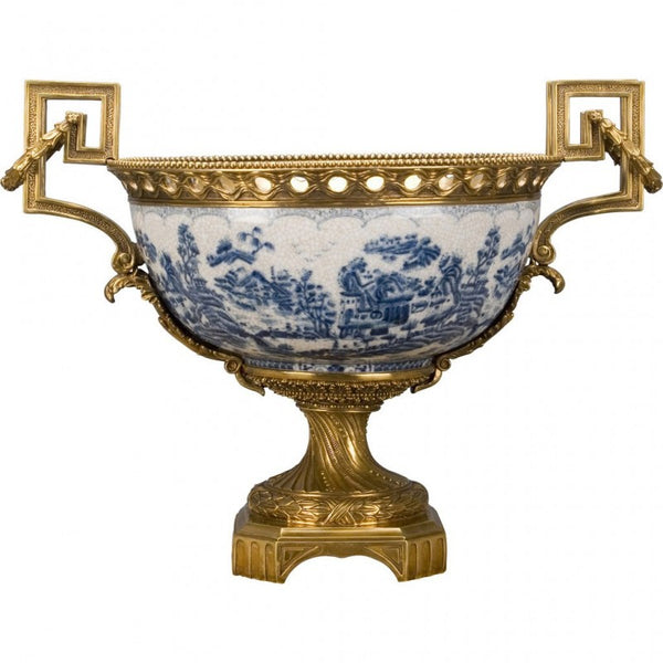 Lovecup Loving Cup Basin with Bronze Ormolu and Blue Willow L346