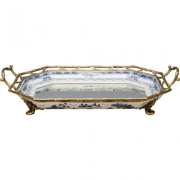 Lovecup MIRROR PORCELAIN TRAY WITH BRONZE ORMOLU L348