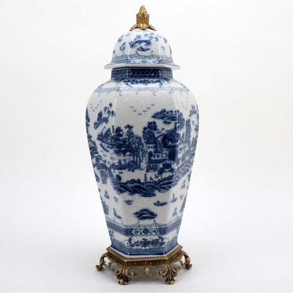 Lovecup Octagonal Lidded Jar With Bronze Ormolu- Blue Willow L370