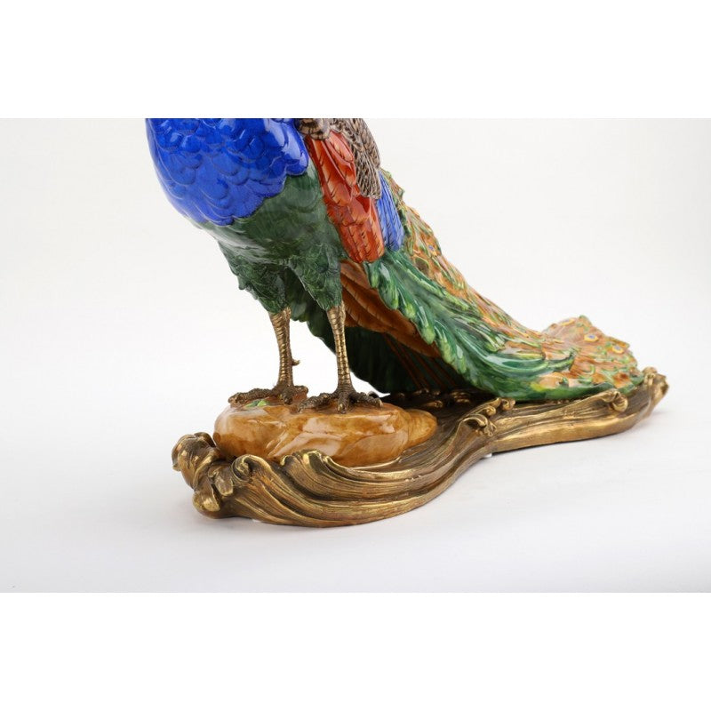 Lovecup Porcelain and Bronze Peacock Figurine L377
