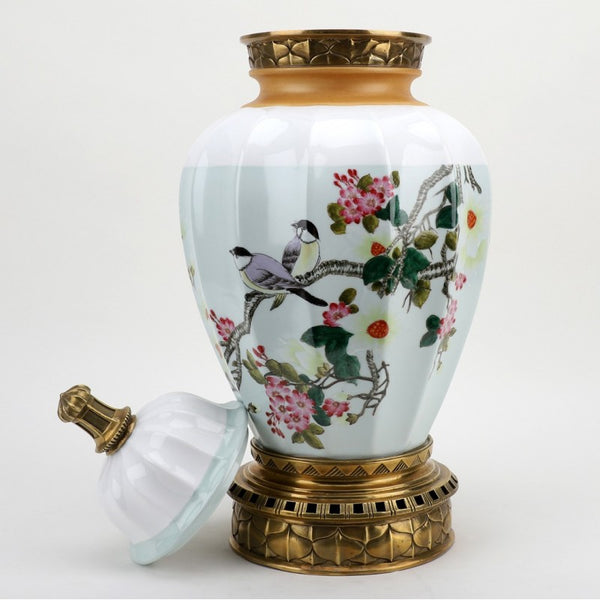 Lovecup Spring Blossom Jar with Bronze Ormolu Accents L378