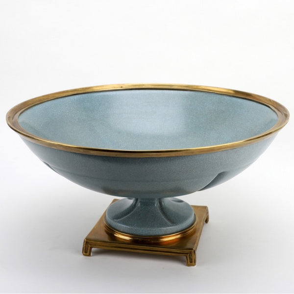Lovecup Round Centerpiece Bowl Centerpiece with Bronze Ormolu- Tinted Blue L385