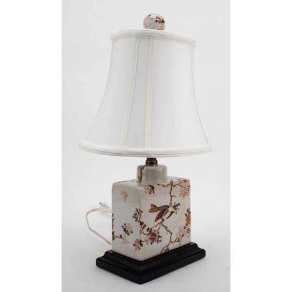 Lovecup Felaria with Bird and Flowers Square Table Lamp L391