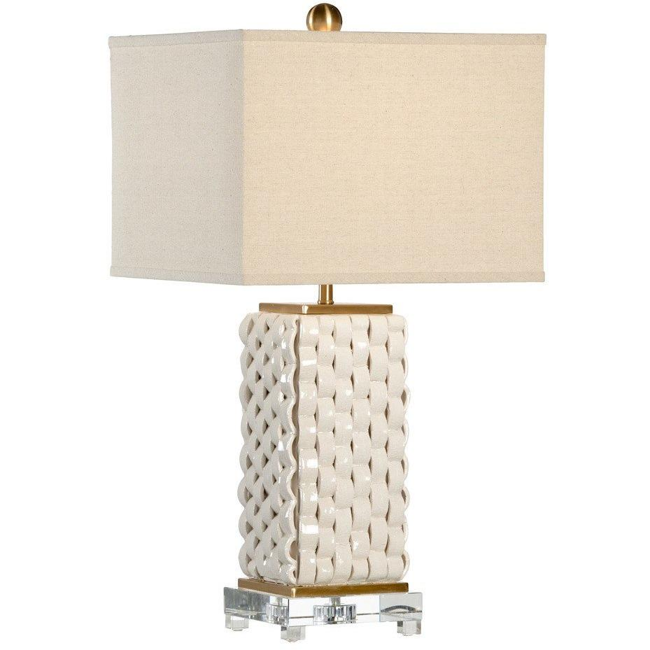 Chelsea House Woven White Brushed Brass Table Lamp 68885 - LOVECUP