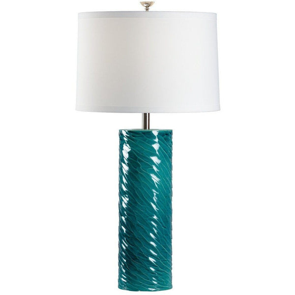Chelsea House London Cylinder Green Table Lamp 69009