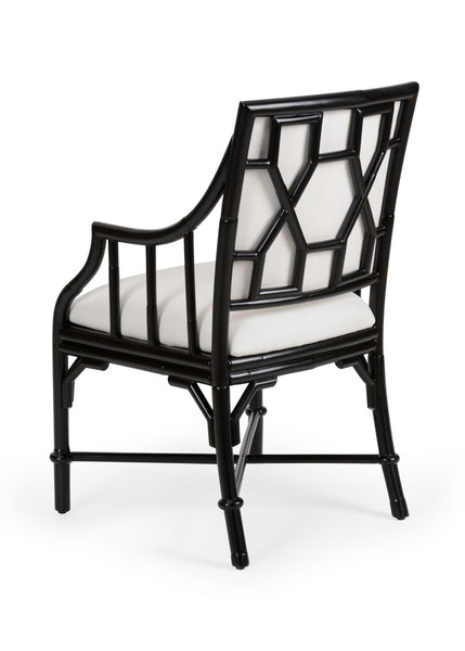 Lovecup Black Finish On Rattan Dining Armchair L128