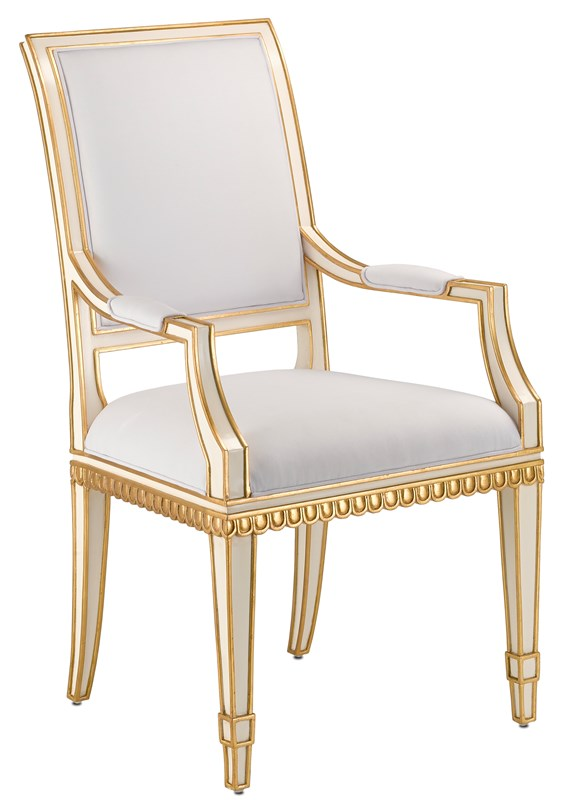 Currey and Company Ines Muslin Ivory Arm Chair 7000-0171