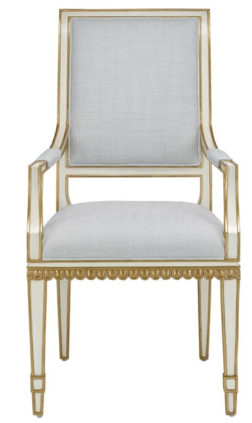 Currey and Company Ines Mist Ivory Arm Chair 7000-0172