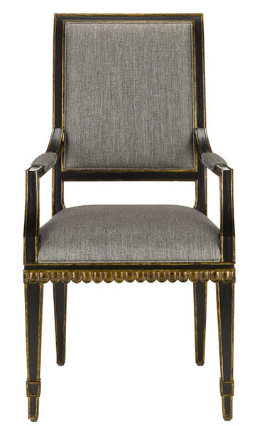 Currey and Company Ines Peppercorn Black Arm Chair 7000-0183