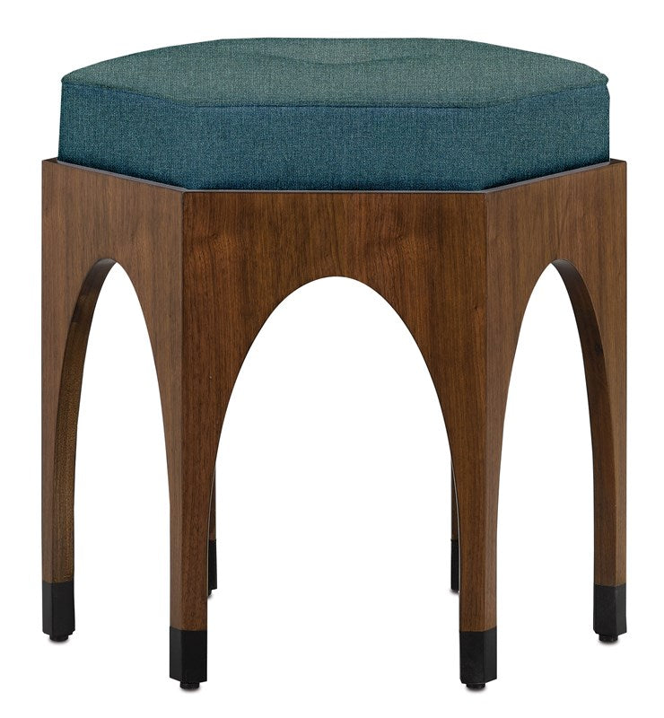 Currey and Company Dyer Blue Ink Walnut Ottoman 7000-0272