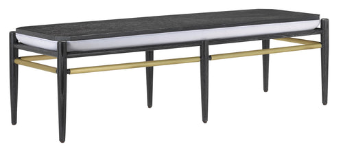 Currey and Company Visby Muslin Black Bench 7000-0311