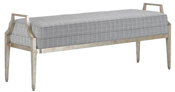 Currey and Company Torrey Tuxedo Silver Bench 7000-1182