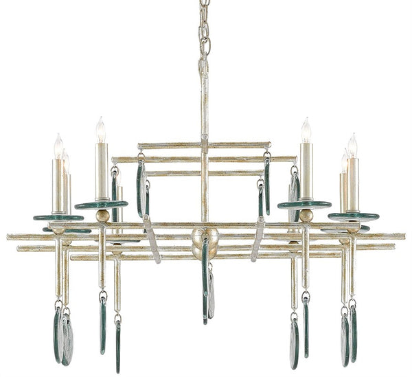 Currey and Company Sethos Silver Rectangular Chandelier 9000-0060