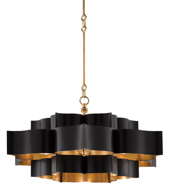 Currey and Company Grand Lotus Black Chandelier 9000-0429