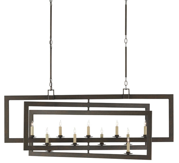 Currey and Company Middleton Bronze Rectangular Chandelier 9000-0525