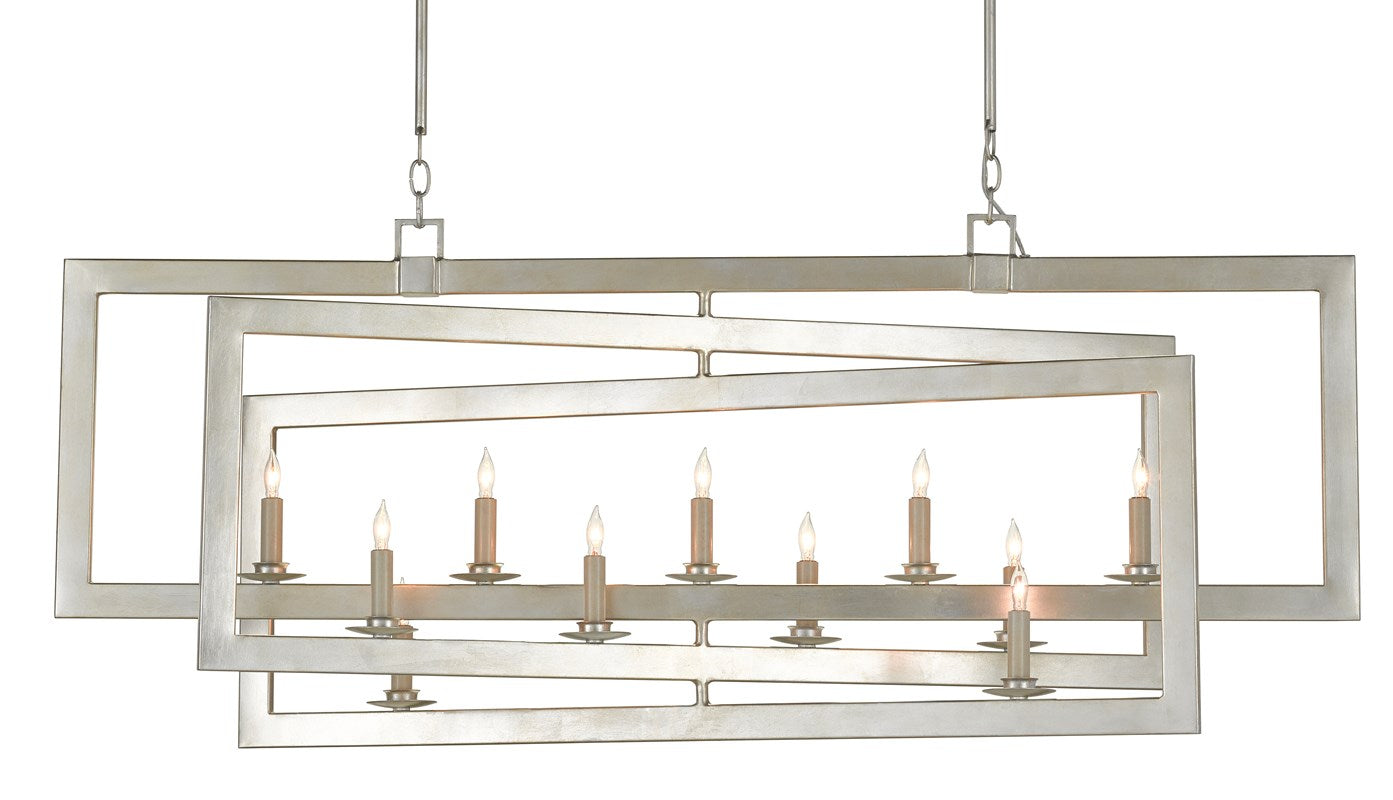 Currey and Company Middleton Rectangular Silver Chandelier 9000-0634