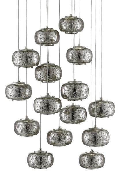 Currey and Company Pepper Round 15-Light Multi-Drop Pendant 9000-0691